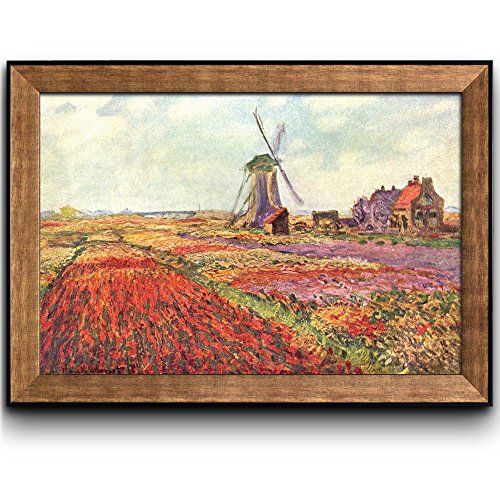 Field Tulips in Holland by Claude Monet Framed Art