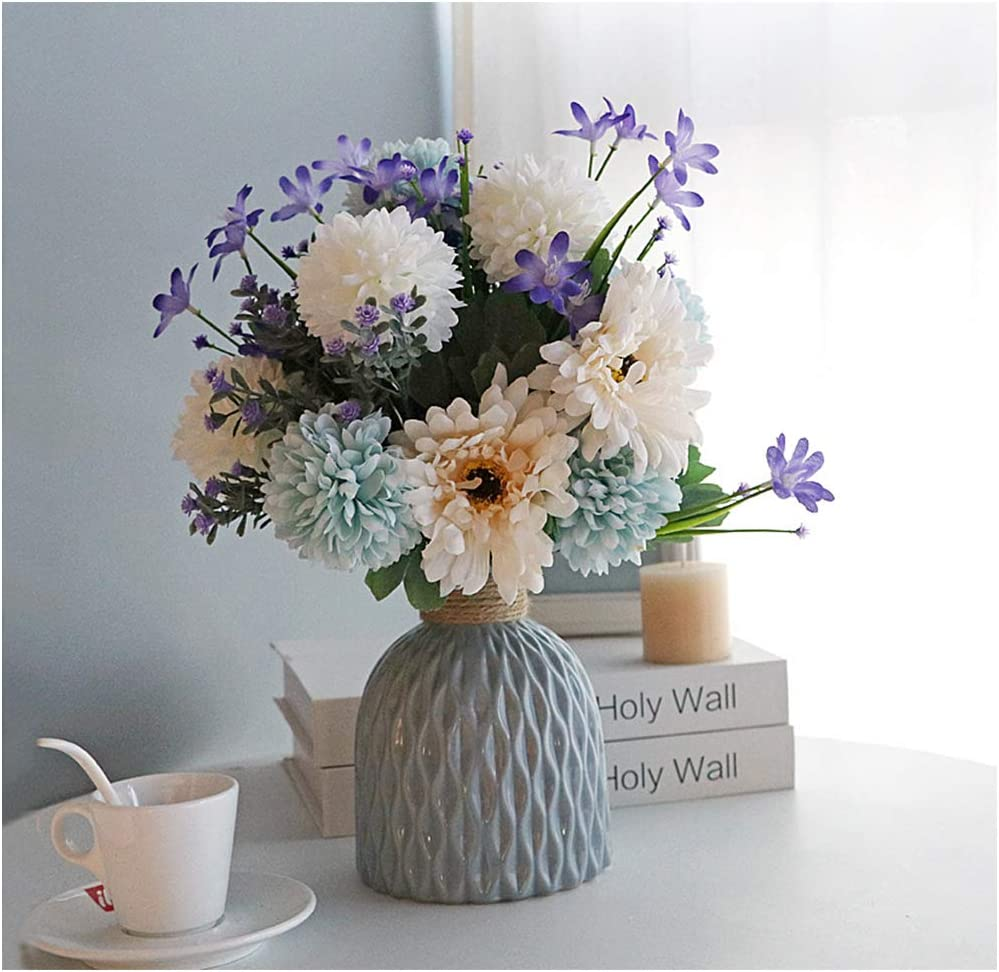 Artificial Flowers with vase,Plants Flowers Faux White Silk Hydrangea Bouquet Blend Chrysanthemum Suit, for Office Home Decor Indoor (White and Blue)