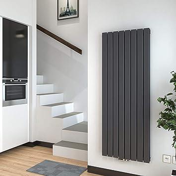 Heizkörper Flach Vertikal Design Paneelheizkörper 10x10 mm,  Flachheizkoerper Heizung Mittelanschluss 10W Anthrazit Doppellagig,  Radiator für