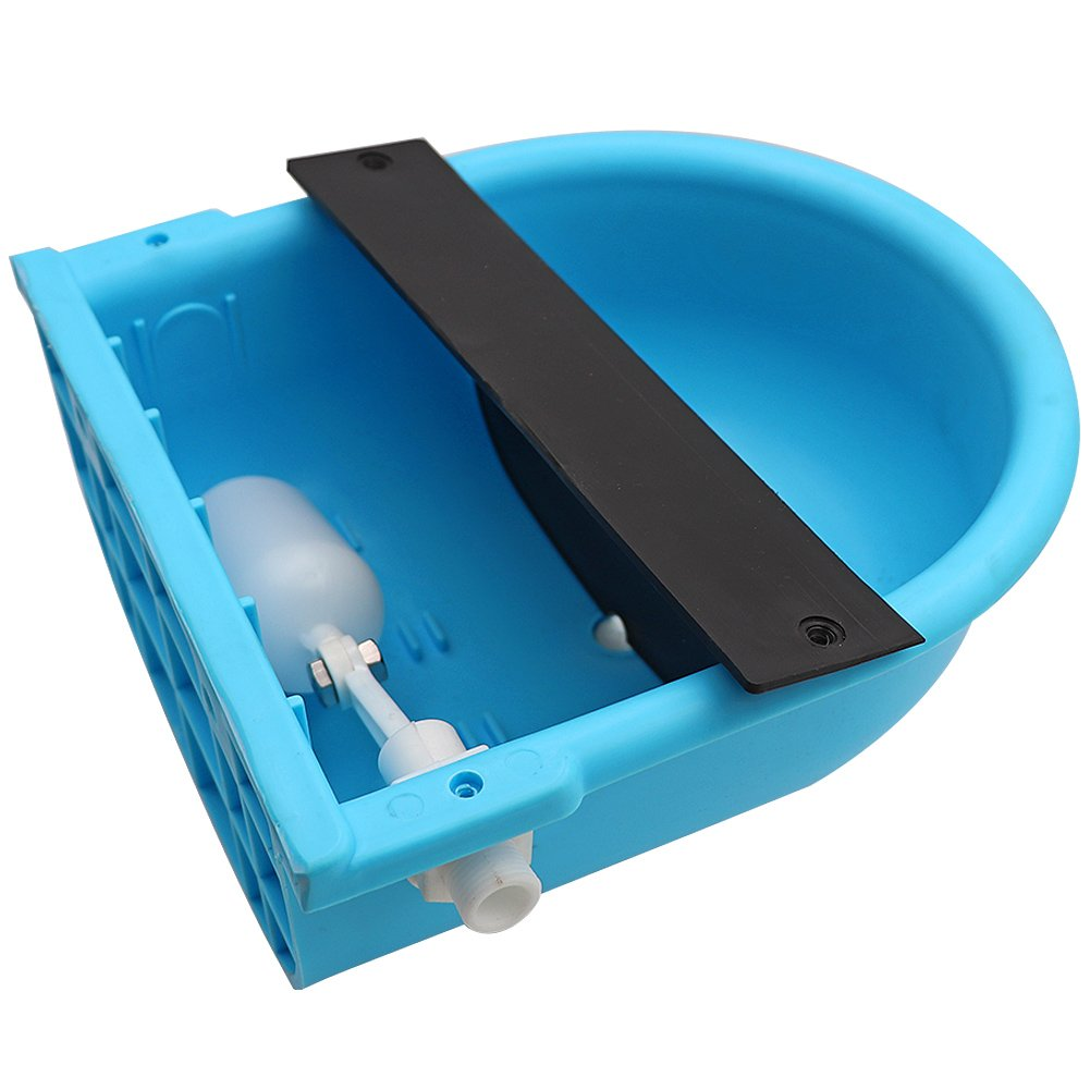Blue Automatic Water Bowl with Drainage Hole for Dog Cattle Horse Float Valve Sheep Goat Calf Sow Large Animal Waterer by Livestocktool