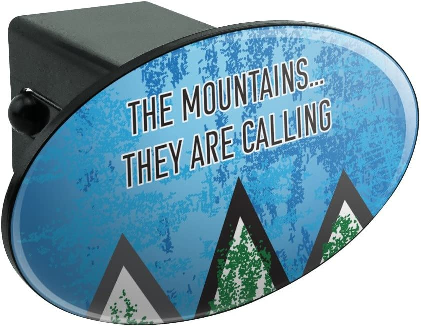 Graphics and More The Mountains They are Calling Hiking Nature Oval Tow Hitch Cover Trailer Plug Insert 2""