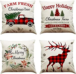 MIUINCY Farmhouse Christmas Pillow Covers 18x18 inch Christmas Decorations Throw Pillows Cushion Case Red Black Buffalo Plaids Christmas Decor Winter Pillow Cases for Sofa Couch, Set of 4
