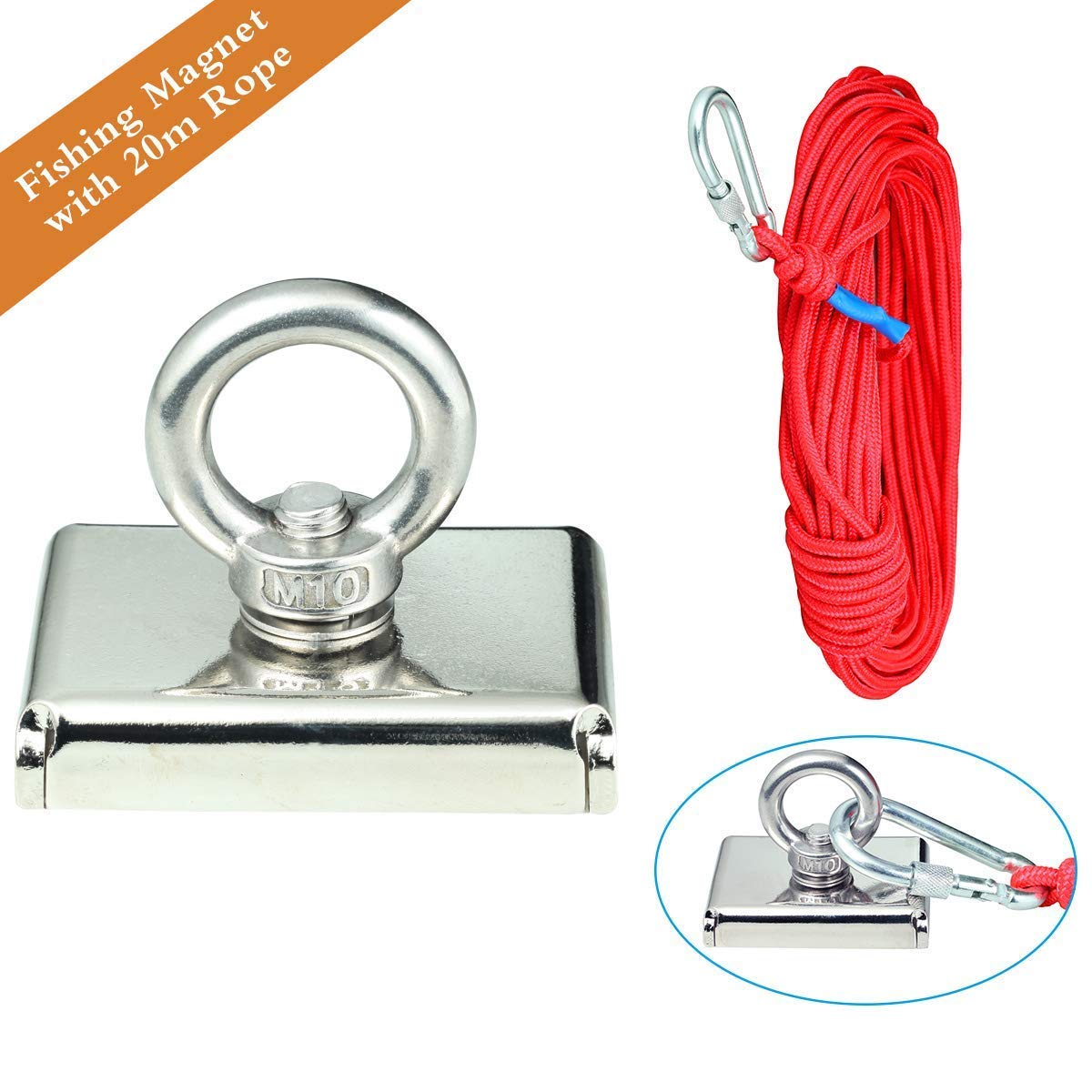 Powerful Fishing Magnets Set Wukong Model SNN75 242LBS Neodymium Magnets with Eyebolt Including Diameter 1/4'' 65.6 Feet Red Strong Braided Rope and Firm Security Lock.