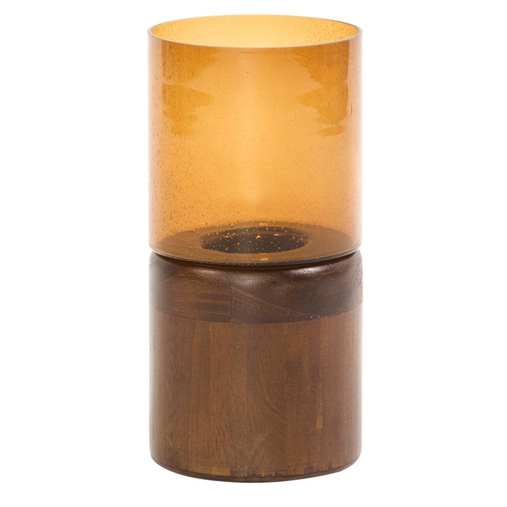 Howard Elliott 86068 Amber Glass Candle Holder, Dark Walnut Wood Base, Small