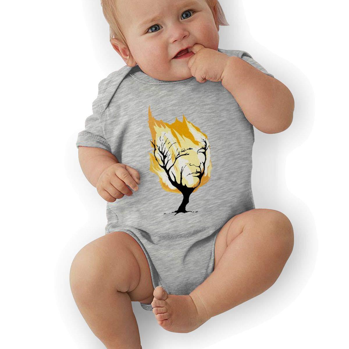 Newborn Baby Boys Bodysuit Short-Sleeve Onesie Fire Face Tree Print Jumpsuit Summer Pajamas