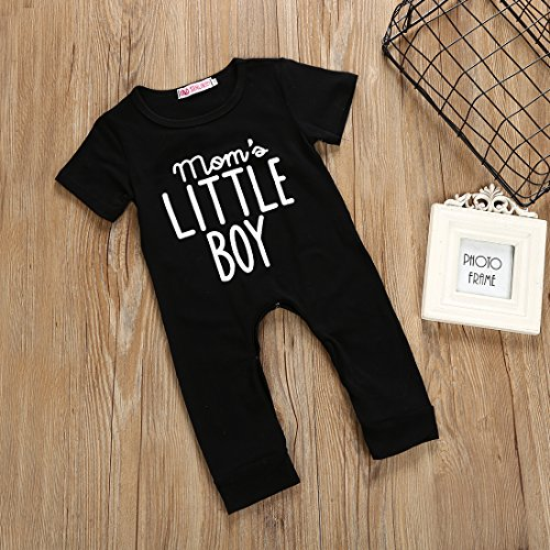 Treafor Baby Boy Short Sleeve Romper Mom's Little Boy Letter Printed Bodysuit Black Jumpsuit Mother's Day Outfits
