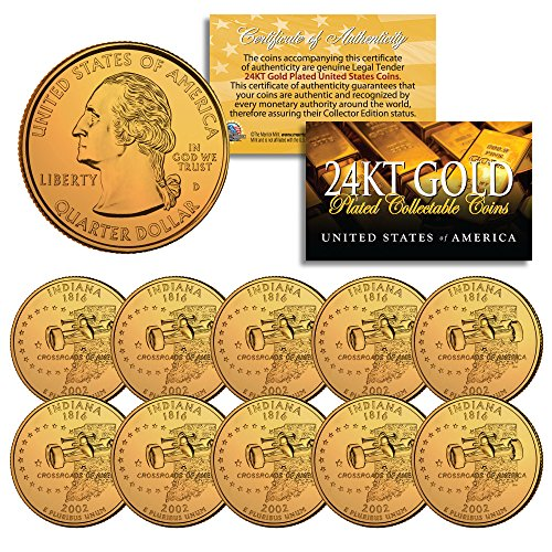 2002 Indiana State Quarters U.S. Mint BU Coins 24K GOLD PLATED (LOT of ()