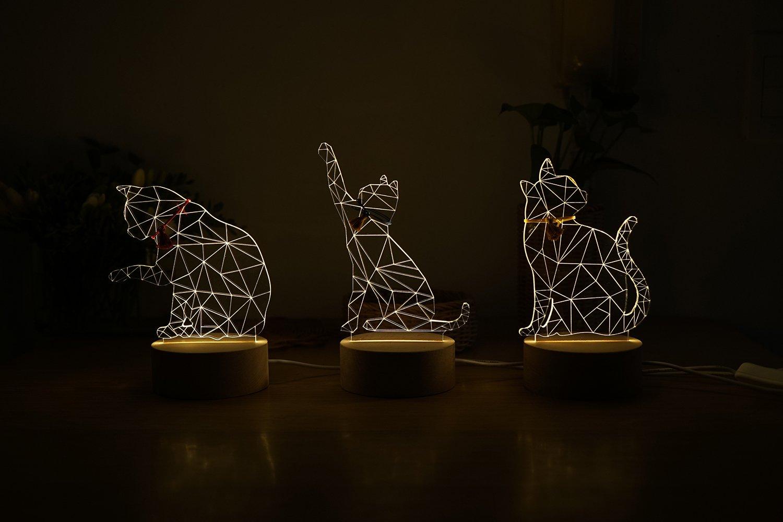 Innerest 3D Cat Dog Bear Night Light Table Lamp Home Décor Animal Sculpture Hardwood Kids bed lighting (Warm- Hardwood, One Size- Cat 3) by Innerest (Image #4)