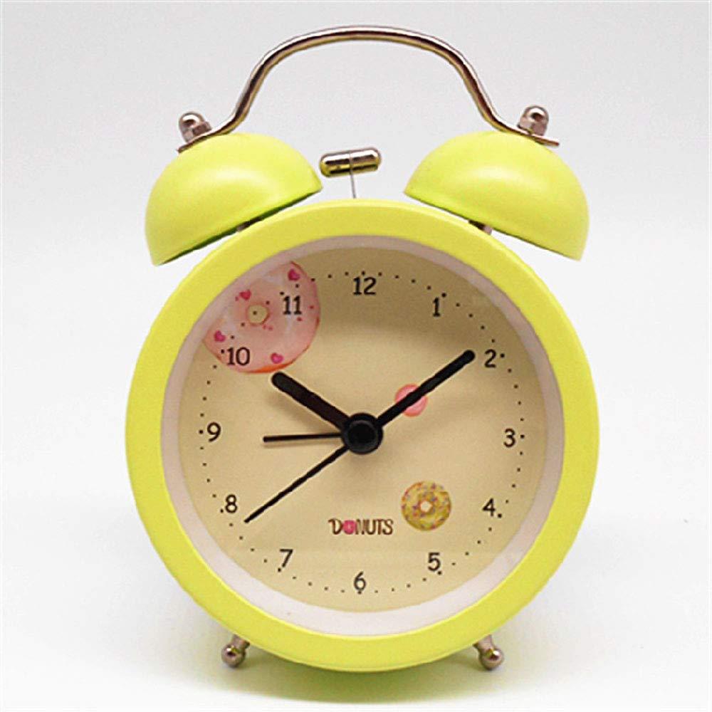 White Round Alarm Clock, Electric Travel Clock, Loud Double Bell Alarm Clock, timed Alarm Clock, Lighting, Cartoon Shape