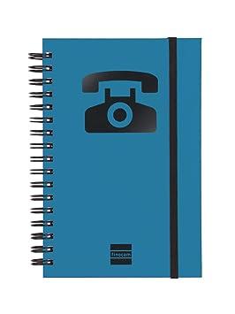 Finocam 8510510 - Índice telefónico con espiral doble y cierre de goma (48 hojas, 120 g reciclado, 10x15 cm) color azul, 1 unidad