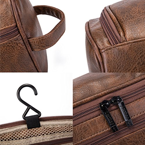 dedfed06c4f8 CoolBELL Leather Toiletry Bag Travel Toiletry Organizer Portable ...