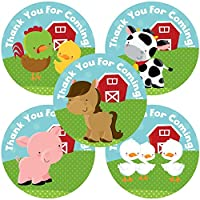 Farm Animals Thank You Sticker Labels - Boys Girls Birthday Baby Shower Party Supplies - Set of 50