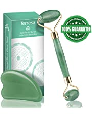 Jade Roller for Face, Terresa Facial Roller Massager with Gua Sha Scraping Tool, Natural Anti-Aging Face Roller for Eye Puffiness Treatment, Skin Tightening, Rejuvenate Face and Neck, Remove Wrinkles