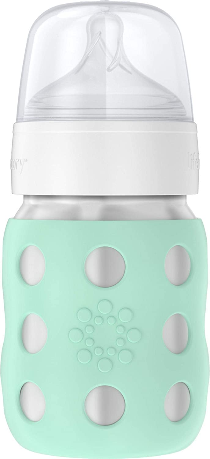 Lifefactory 8-Ounce Stainless-Steel Vacuum-Insulated Wide-Neck Baby Bottle with Stage 2 Nipple, Mint, LS2211WMI4
