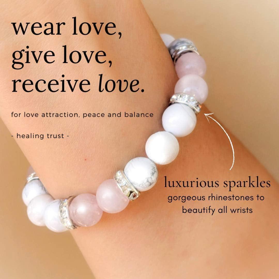 Gift for Her Natural Crystal Bracelet POSITIVITY Amethyst and White Howlite Natural Healing Gemstone Bracelet