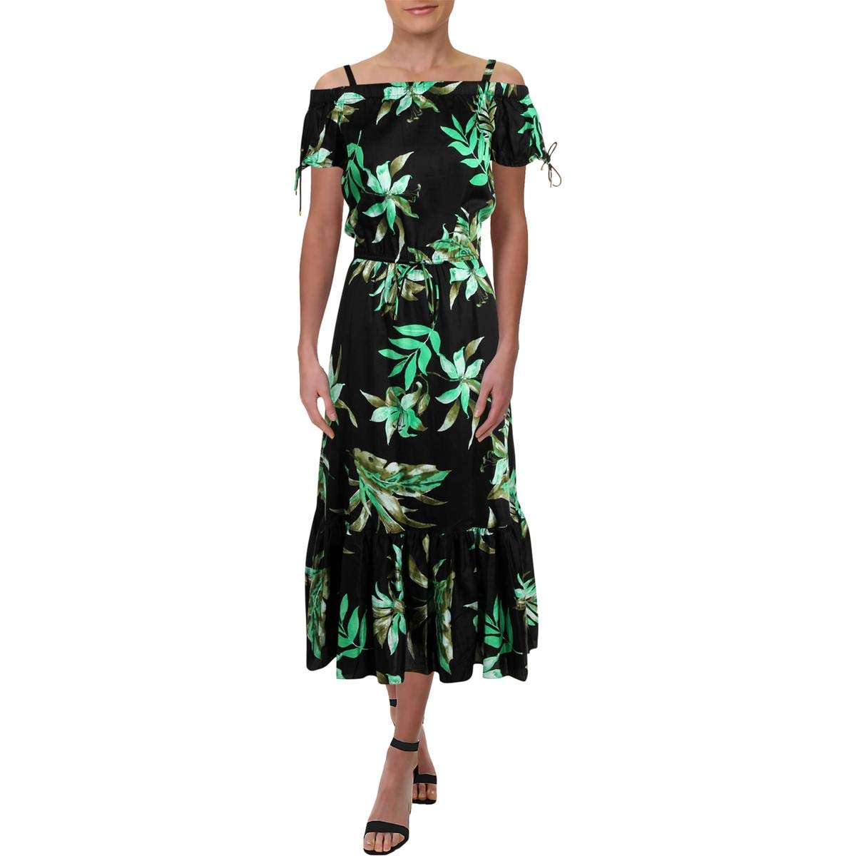 Black Lauren Ralph Lauren Womens Nuru OffTheShoulder Floral Print Casual Dress