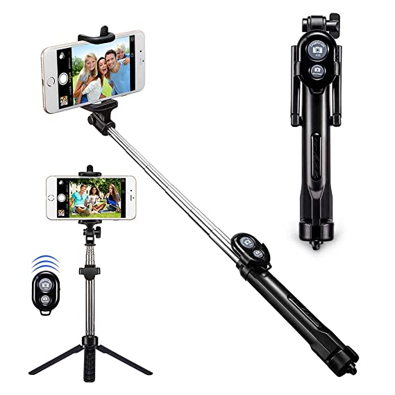 fbe4263c058ac9 Bluetooth Selfie Stick Alfort Extendable Selfie Stick Tripods 2-in-1  Monopod with Wireless