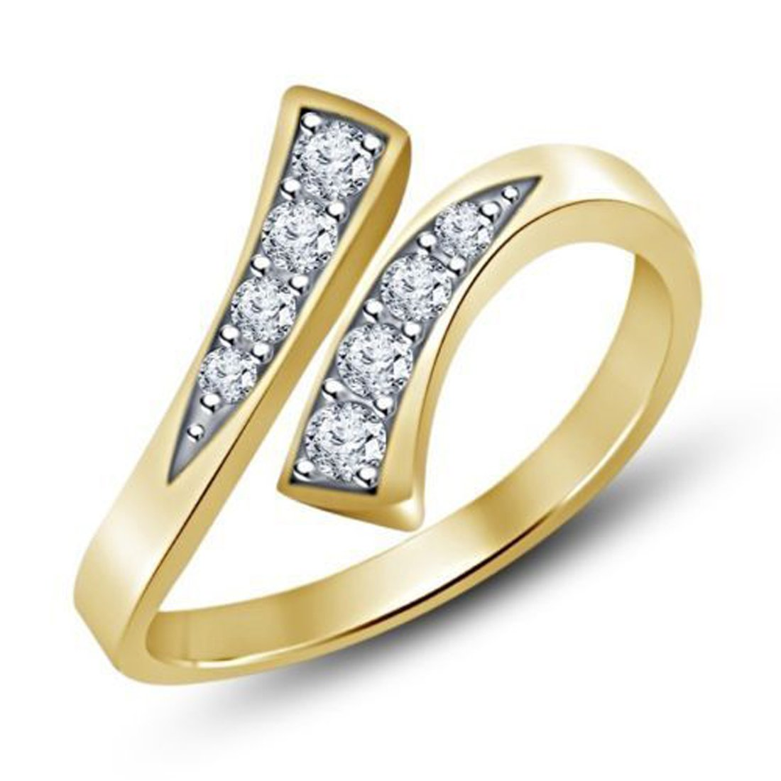 EternalDia 925 Sterling Silver Simulated D/VVS1 Diamond Adjustable Bypass Toe Ring For Womens