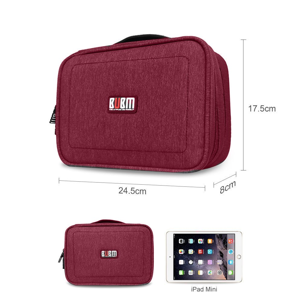BUBM Bolso Estuche multifuncional Accesorios de Viaje Grandes accesorios electrónicos Organizadores, accesorios electrónicos Bolsa de transporte con placa de cable - Rojo