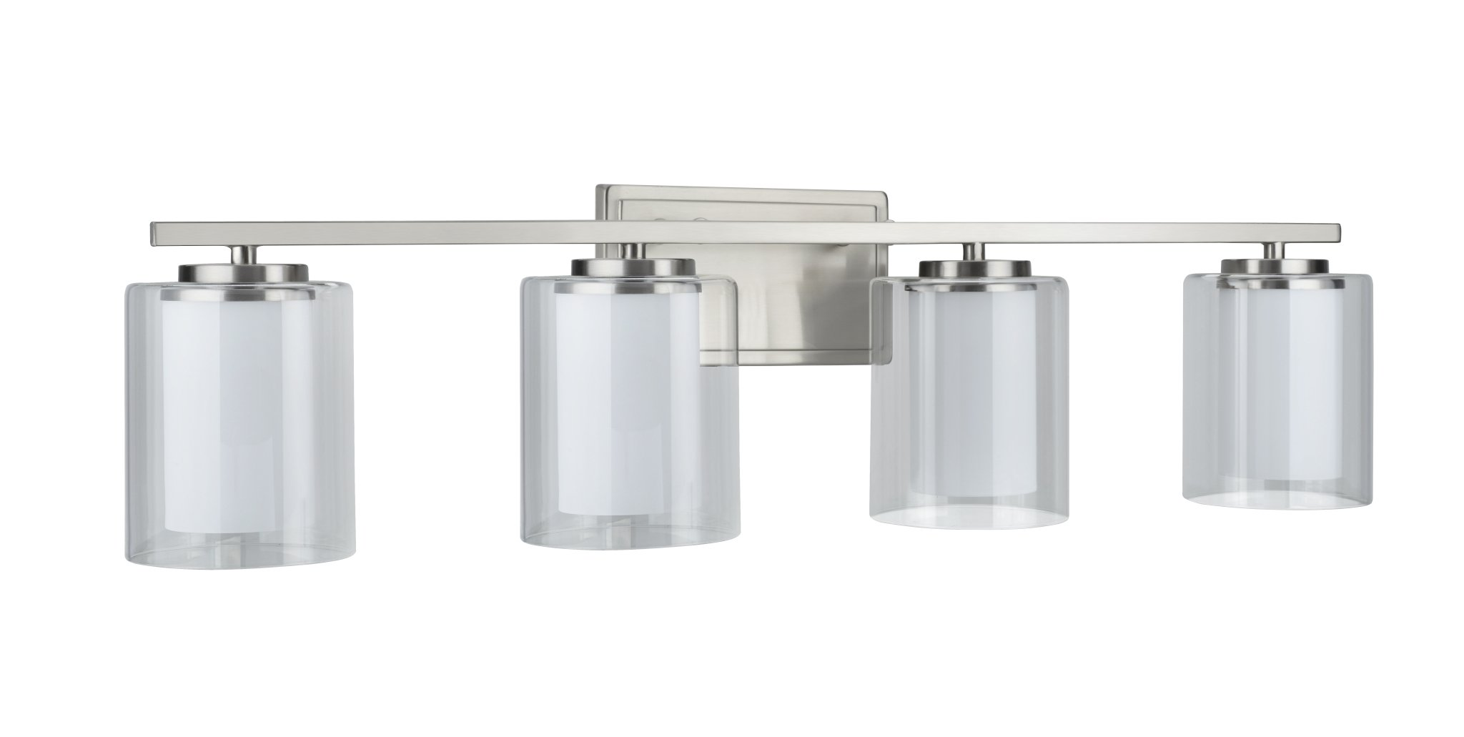Aspen Creative 62104, Four-Light Metal Bathroom Vanity Wall Light Fixture, 32'' Wide, Transitional Design in Satin Nickel with Clear Glass Shade by Aspen Creative (Image #3)