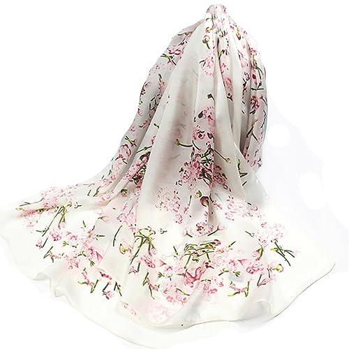 Helan Mujeres Seda natural real 175 X 65 cm Las bufandas largas Beige Flores de cerezo
