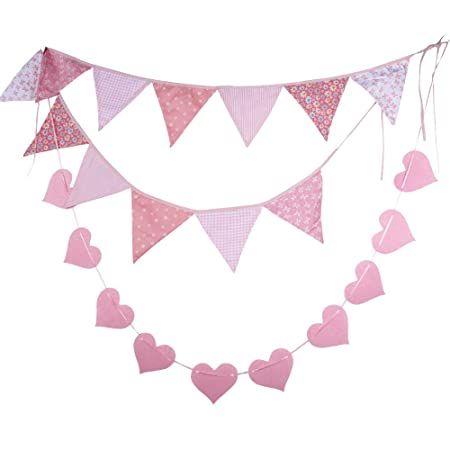 BUONDAC 2pcs Guirnaldas Banderines Banderitas Corazones Tela Decoración Fiesta Cumpleaños Boda Bautizo Jardín Hogar Banderas Triangulares Color Rosa