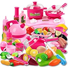 42 Piece Kitchen Cooking Set Girls Boys Fruit Vegetable Tea Playset Toy for Kids Early Age Development Educational Pretend Play Food Assortment Set