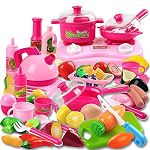 Kimicare 58 Piece Kitchen Cooking Set Girls Boys Fruit Vegetable Tea Playset Toy for Kids Early Age Development…