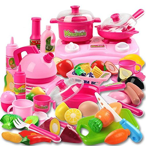 42 Piece Kitchen Cooking Set Girls Boys Fruit Vegetable Tea Playset Toy for Kids Early Age Development Educational Pretend Play Food Assortment Set ()