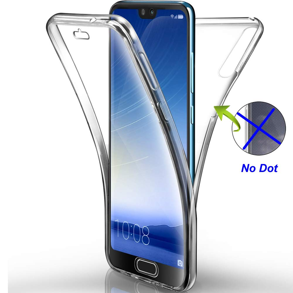 Nadoli 360 Degree Full Body Case Transparent Clear Thin Shockproof Hard PC and Soft Silicone Rubber Anti-Slick 2 in 1 Protective Bumper Back Case Cover for Samsung Galaxy A50