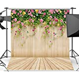 5x7ft Wood Backdrops for Photography Pink Floral Photo Backgrounds for Photo Booth Studio Props Vinyl Wooden Floor Backdrop