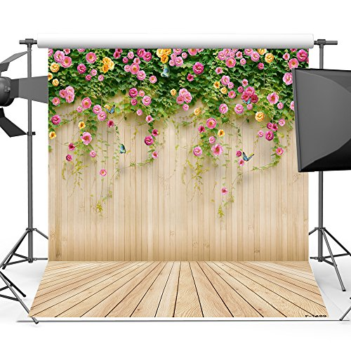 Mehofoto Wood Backdrops for Photography Printed Floral Wall Photo Background for Photo Studio Props Vinyl Wooden Floor Backdrop - Floral Photography Backgrounds
