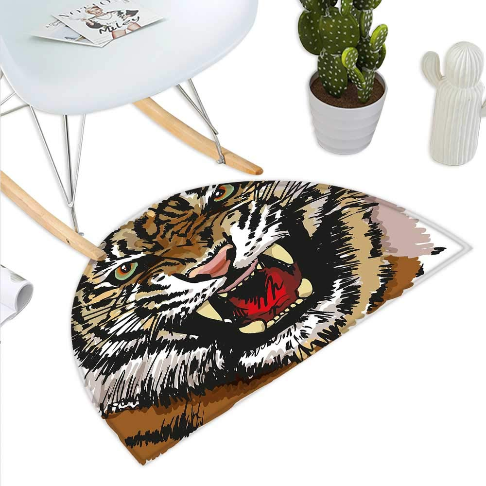 color01 H 19.7  xD 31.5  Tiger Semicircle Doormat Retro Inspired Symbols Ethnic Montage with Contrasting colors Anemone Majestic Feline Halfmoon doormats H 27.5  xD 41.3  Multicolor