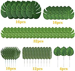 90PCS Artificial Plants Tropical Monstera Palm Leaves,STAR-TOP Simulation Leaf For Hawaiian Theme Party Decor Home Garden Fake Leaves