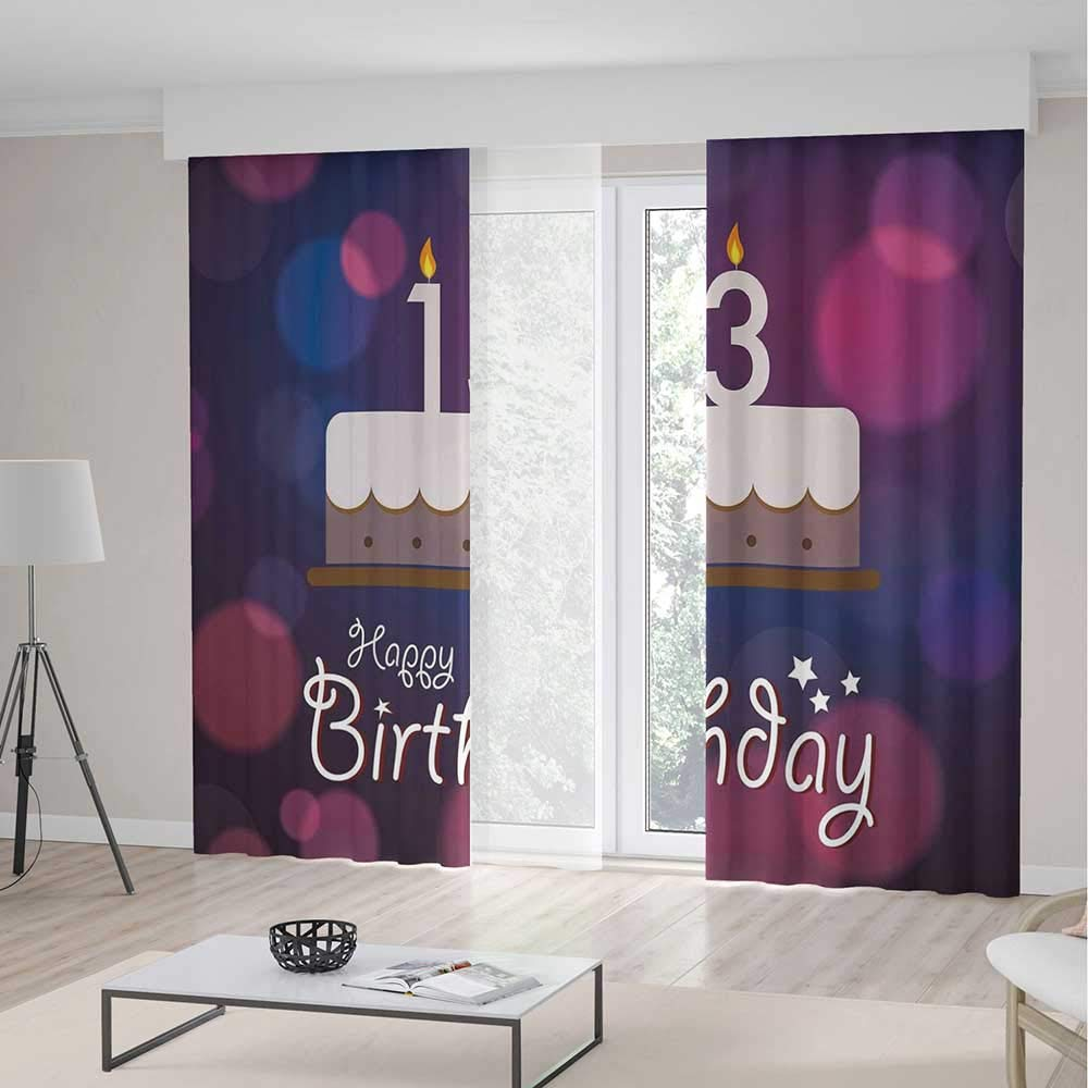 Door Curtain,13th Birthday Decorations for Living Room,Hand Drawn Party Cake with Number Candles Abstract Backdrop,141Wx94L Inches