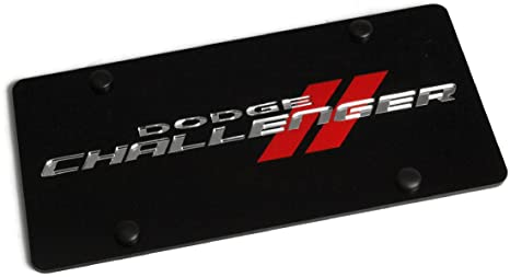DODGE Stripes Front Mirror Stainless Steel License Plate Frame 3D AUTHENTIC