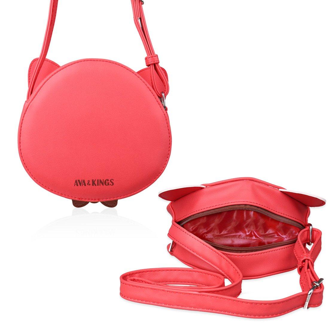 5654eaedaf25 Amazon.com  Ava   Kings Girl Faux Leather Purse Shoulder Handbag Bag for  Kids Red Orange Fox  Shoes