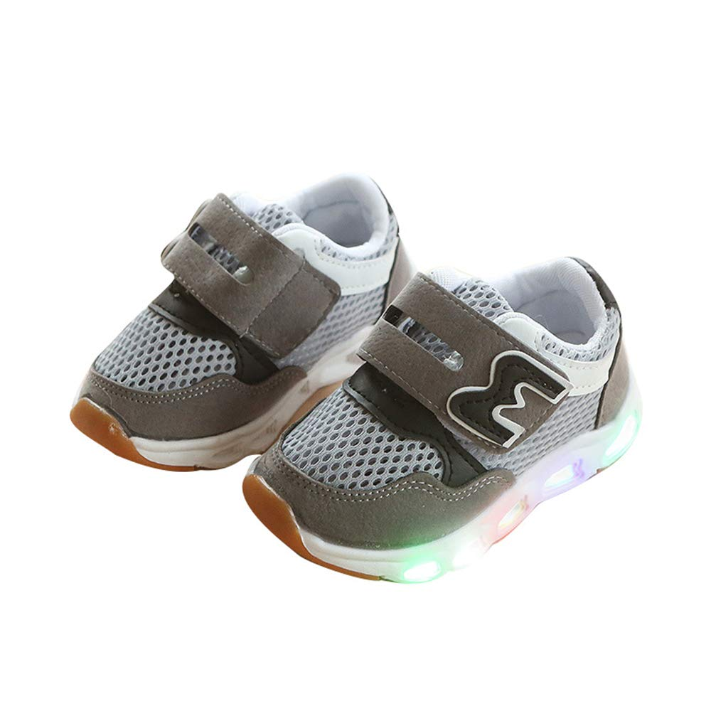 edv0d2v266 Baby Children Kids Boys Girls LED Light up Shoes Luminous Glowing Sneakers Shoes(Grey2 24/7.5 M US Toddler)