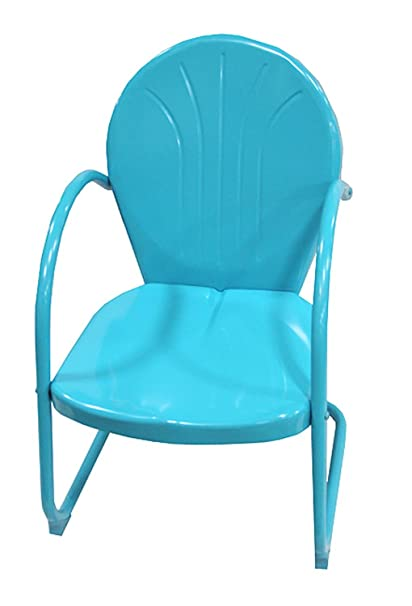 Rich Pacific Turquoise Blue Retro Metal Tulip Chair