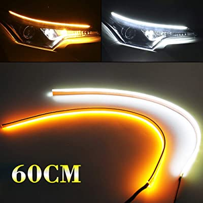 2PCs 24 inch LED Strip Light Flexible White Amber Dual Color DRL Daytime Running Lights Waterproof Turn Signal Light Switchback Neon Lights Flowing Lights Bar for 12V Car: Automotive