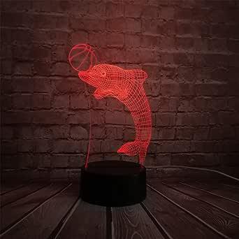 3D Lamp Kawaii Dolphin Play Ball 3D Lamp Cartoon USB Night Light Multicolor LED RGB Lighting Bulb Kid Toy