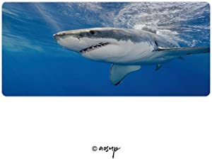 Homenon Professional Gaming Mouse Pad, Great White Shark, Carcharodon Carcharias, Underwater at Guadal Custom Design Stitched Edges Waterproof Non-Slip Rubber Base Mousepad 35.4 x 15.7 inch NO-53833