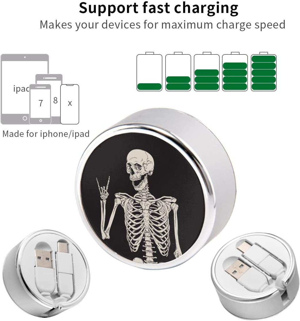 Charging Cable Can Be Charged and Data Transmission Synchronous Fast Charging Cable-Skull Human Skeleton(圆) Cool Design Round USB Data Cable