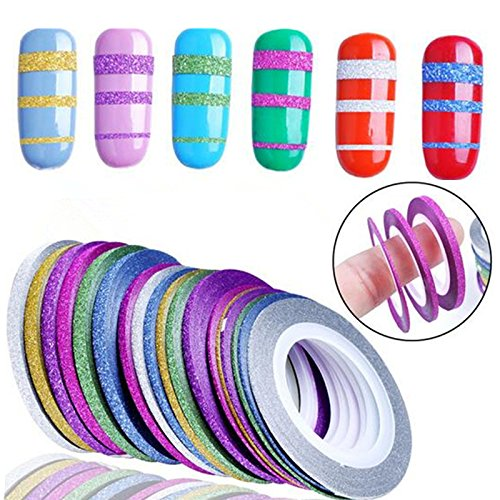 Nail Tape Nail Striping Tape - 10 Rolls Glitter Scrub Nail Art Striping Tape Line Sticker Tips Decorations DIY Self-Adhesive Decal Tools Manicure 1MM 2MM 3MM - Nail Polish Tape (3mm)]()