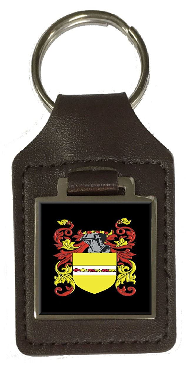 Kynnersley Family Crest Surname Coat Of Arms Brown Leather Keyring Engraved