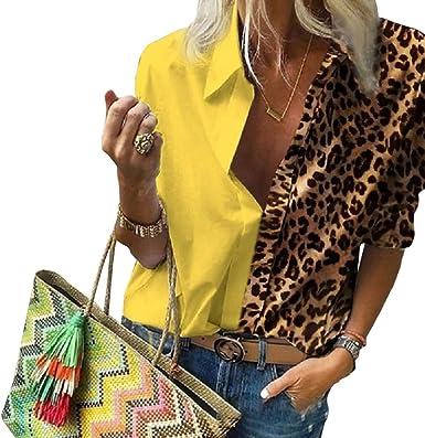 Camisa de Manga Larga para Mujer Estampado de Leopardo Color ...