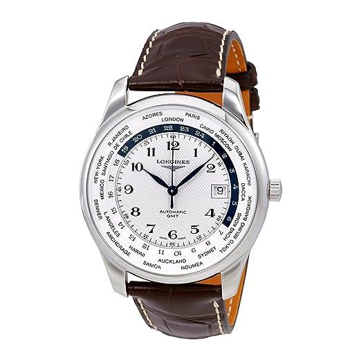 Longines Master automático GMT Plata Dial Mens Reloj l2.802.4.70.3: Amazon.es: Relojes