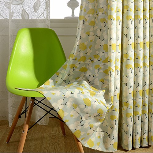 VOGOL Print Curtains Window Room Grommet Curtain Drapes for Bedroom and Living Room, Set of 2 Panels, W52 x L96 inch,White and Yellow Floral in Light Blue