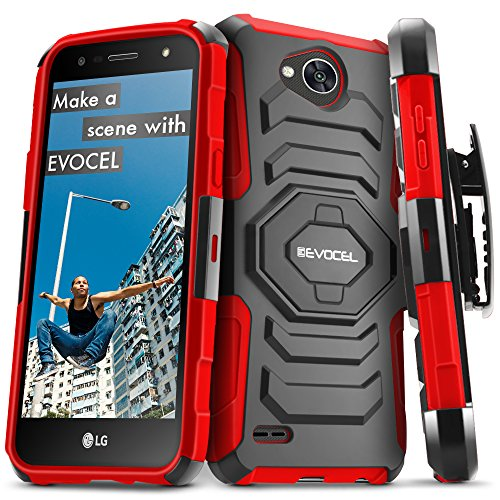 LG X Power 2 / LG X Charge/LG Fiesta 2 / LG Fiesta LTE Case, Evocel [New Generation Series] Belt Clip Holster, Kickstand, Dual Layer for LG Fiesta LTE / M327 / L63BL / L64VL / US701, Red