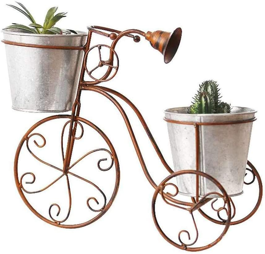 Jardinera de escritorio Maceta de jardín Decoración del hogar Hierro forjado europeo Bicicleta Soporte de flores Maceta Creativos Artesanía
